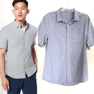 LULULEMON All Town Short Sleeve Button Shirt Blue